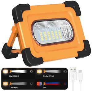 60W LED Baustrahler Akku LED Strahler Arbeitsscheinwerfer Solar COB Flutlicht DE