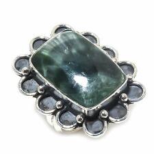 Silver Ring Size 8.5 Seraphinite Gemstone Handmade Ethnic .925