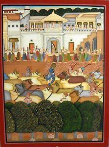 God Krishna Cow Painting Decorative Miniature Indian God Hinduism Good Luck Art