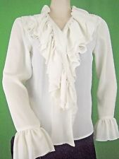 SEE BY CHLOE ITALY NEW White Ruffled Blouse 8 (44)