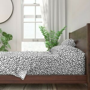 Memphis Style Black And White 100% Cotton Sateen Sheet Set by Roostery
