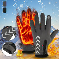 Mens Winter Warm Touch Screen Full Finger Thermal Gloves Motorcycle Cycling