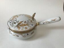 Vintage ISCO White & Gold_Hand Painted Porcelain_Silent Butler Crumb Catcher