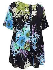 Phool plus size 24 26 28 one size black pattern blouse top shirt short sleeve