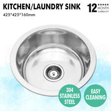 425*425*160mm Sink Drop In/Undermount Stainless Steel Single Bowl Round Glossy