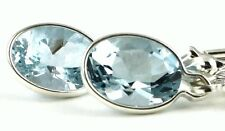 Aquamarine, 925 Sterling Silver Leverback Earrings, SE001