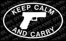 Keep Calm and Carry small x2 vinyl window decal sticker NRA pro 2nd gun pistol