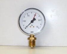 "Manometro Ø 80 Att. 1/2"" Pressure Gauge WIKA 0 a +1 bar"