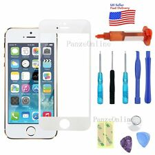 White Replacement Front Screen Glass Lens for iPhone 5S 5 SE Tools Kit+UV Glue