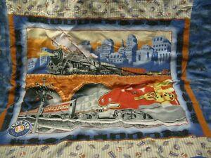 Lionel Train Twin Comforter Blanket Santa Fe Engine Vintage Flannel Back Tied