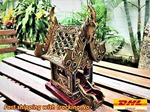 Thai Spirit House Teak Wood Handcraft Buddhist Temple Replica Shrine Home Décor