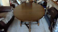 Vintage Old Charm Oak Drop Leaf Oval Dining Table by Wood Bros