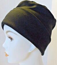 Cozy Interlock Black Rolled Cuffed Chemo Cancer Hair Loss Hat Turban Cap