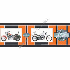 Genuine HARLEY DAVIDSON Motorcycles Orange Black Silver Wallpaper Border