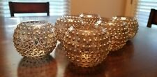 Round Gold votive holders with raised dots (set of 12)