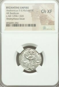 Byzantine Empire Andronicus & Michael NGC CH XF Ancient Silver Coin