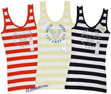 GUESS débardeurs débardeur haut t-shirt col rond 3 couleurs finement côtelé rayé