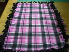 Handmade fleece tie blanket of pink/black plaid for a small pet