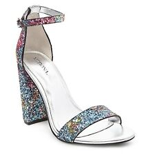 Mossimo Rainbow Glitter Chunky Heels Size 8.5 Multicolor Special Occasion Club