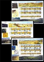 ISRAEL 2014 MAKHTESH ANCIENT EROSION CRATERS 3 SHEETS STAMPS FDC RAMON BIKE CAR