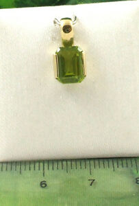 Ladies Solid 9ct 375 Yellow Gold Emerald Cut Real Peridot Pendant Only