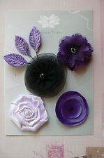 PURPLE & BLACK Fabric Mixed Designs 4 Flowers 40-50mm across 3 Leaves Green Tara