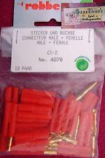 ROBBE 4078 10 PAAR STECKER & BUCHSEN GOLDKONTAKT CT 2 - NEU
