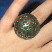 "Ring Circle Star Afghan Gemstone Kuchi Tribal Alpaca Silver 1"" Size 10 to 11"