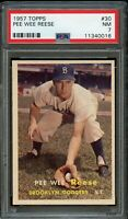1957 Topps BB Card # 30 Pee Wee Reese Brooklyn Dodgers PSA NM 7 !!!!