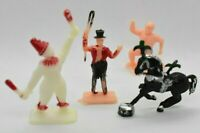 Vintage 4 lot PLASTIC TOY FIGURES - CRESCENT Clown Ring Master Strong Man Horse