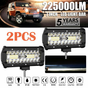 2x 7inch LED Work Light Bar Flood Spot Fog Lamp Offroad Driving Truck 4WD SUV AU