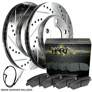 For 2011-2019 BMW X5, X6 Front Drilled Slotted Brake Rotors + Ceramic Brake Pads