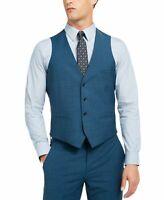 Bar III Mens Vest Blue Size Large L Slim Fit Stretch Four Button Wool $125 #106