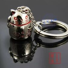 MANEKI NEKO LUCKY CAT Metal Keychain Keyring PLUS Bag Charm Lucky Purse Bell