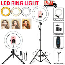 LED Studio Ring Light Photo Video Dimmable Lamp Tripod Stand Selfie Camera Phone