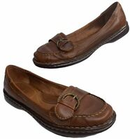 Born Wide Brown Leather Slip On Buckle Loafer Shoes Womens Size 8 39 M/W Mindy