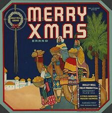 "RARE OLD ORIGINAL 1920 THREE WISE MEN ""MERRY XMAS BRAND"" LABEL DAVENPORT FLORIDA"