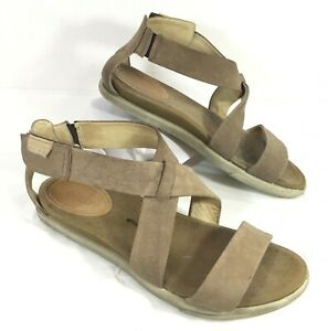 GUC ECCO DAMARA Strappy Ankle Strap Sandals Brown leather  Sz 38   7-7.5