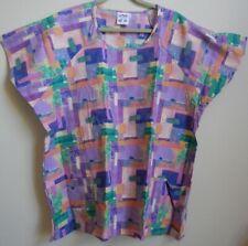 Slipover Tunic Scrub Top 3X Multi-color. New. Scoop Neck, 2 Bottom Pockets