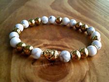 Pulsera De Oro Cabeza de Buda, Howlite & Hematita Piedras Preciosas Con cuentas Pulsera vendedor del Reino Unido