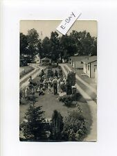 Postmark Beverly MA Mass RPPC real photo 1943, cabins, people, cars, postcard