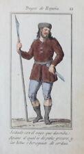 ESPAÑA, TRAJES ANTIGUOS, SOLDADO . GRABADO ORIGINAL MADRID, ca. 1825