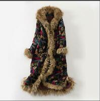 Women's Floral Bohemian Thicken Hooded Coat Cotton-padded Faux Fur Parka Jackets