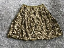 Betty Jackson Gold Silk And Sequin Skirt In Size 12 New
