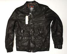 DIESEL Designer Men's L-Ajuga Black Leather Jacket Small New NWT