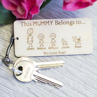 PERSONALISED BIRTHDAY GIFT for MUM WOODEN KEYRING FAMILY PORTRAIT DADDY DAD PLY