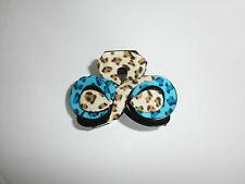 Pince Crabe Style Cuir Léopard 8 cm Couleur Bleu beige P0036C