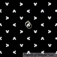 BonEful FABRIC FQ Cotton Quilt Black White B&W Disney Mickey Mouse Head Face Boy
