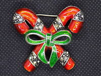 Vintage Adorable CHRISTMAS PIN BROOCH CROSSED CANDY CANES w/ Green Ribbon Bow