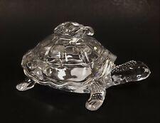 NEW DIAMOND STAR CLEAR GLASS BABY TURTLE SHAPE COOKIE CANDY JAR,DECORATIVE
